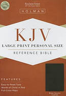 Kjv Large Print Personal Size Bible, Brown Genuine Cowhide