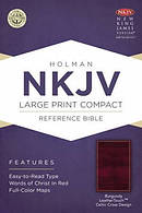 Nkjv Large Print Compact Reference Bible, Burgundy Leathertouch With C