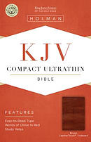 KJV Compact Ultrathin Reference Bible, Brown Cross Leatherto
