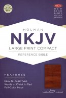 NKJV Large Print Compact Reference Bible, Brown Cross Leathe