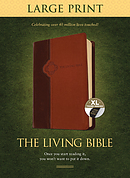 Living Bible Large Print Edition Brown/Tan, Indexed