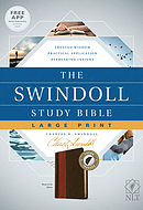 NLT Swindoll Study Bible, Large Print, Brown, Indexed, The