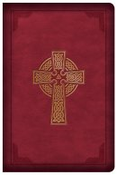 CSB Large Print Compact Reference Bible, Celtic Cross Burgundy LeatherTouch