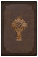 CSB Large Print Compact Reference Bible, Celtic Cross Brown LeatherTouch