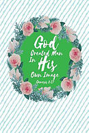 God Created Man in His Own Image: Bible Verse Quote Cover Composition Notebook Portable