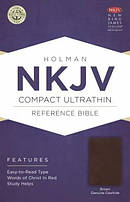 NKJV Compact UltraThin Reference Bible, Brown Genuine Cowhide