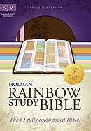 KJV Rainbow Study Bible Pink Brown Imitation Leather