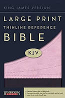 KJV Large Print Thinline Reference Bible Pink Imitation Leather