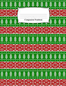 Composition Notebook: Red and Green Christmas Trees Sweater Pattern Wide Ruled Notebook