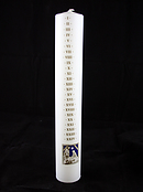 Large White Advent Candle with Nativity Design - Single