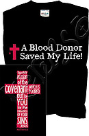 Blood Donor T Shirt: Black , Adult Medium