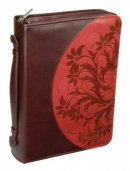 Faith Lux Leather Bible Cover: Mahogany/Red, Large