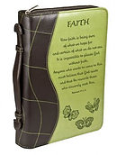 Faith Two Tone Lux Leather Bible Cover: Green, Large