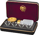 Portable Comm Set 4 Cups Last Supp Maroon Lining   4 1/4in x 7in  x 2 in