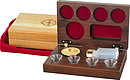 Portable Comm Set 4 Cup Walnut Case  4 1/4in x 7in  x 2 in