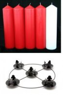 Red & White Advent Candles 2 inch with Frame Set