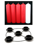 Red & White Advent Candle Set (2