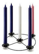 Advent Candles Purple Pink White Candles 1 inch with Frame Set