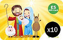 Mary, Joseph & Jesus £5 Gift Cards 10 Pack