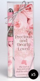 Precious and Dearly Loved Pen and Bookmark Set - Pack of 5