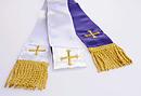 Silk Home Communion Stole Purple/White and Gold Cross