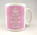 Keep Calm and Know God Pink Mug