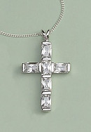 Luxury Diamonique Cross Pendant: Silver with Clear Crystal