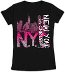 NYC Fitted T Shirt: Black, Female XLarge