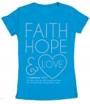 Faith, Hope & Love Fitted T Shirt: Blue, Female Small