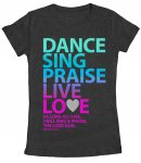 Dance Sing Praise Fitted T Shirt: Grey, Female Large