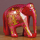 Red Hand-painted Wooden Elephant