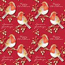Festive Red Robin Gift Wrap and Tags