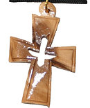 Wooden Cross Dove Necklace