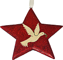 Red Glitter Dove Star Christmas Decoration