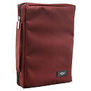 Fish Applique (Burgundy) Promo Poly-Canvas Bible Cover - Large
