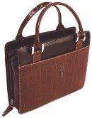 Cross (Brown) Classic Croc Purse-Style Bible Cover- Medium