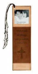 Matthew 19:26 - Faux Leather Bookmark