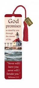 """Hebrews 13:5"" Bookmarks w/ Charm"