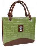 Cross (Green) Croc-Embossed, Purse Style Bible Cover- Large