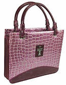 Metallic Pink Croc Purse-Style Cross Bible Cover- Large