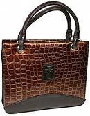 Cross (Brown) Metallic Croc Purse-Style Bible Cover- Medium
