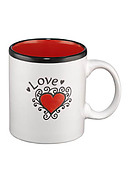 Love Heart White/red Mug