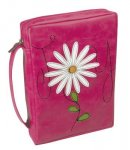 "Flower Applique ""Joy"" Leather-look Bible Cover- Medium"