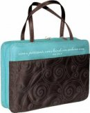 1 Cor. 13: 4 (Turquoise/Brown) Micro-Fiber Purse-Style Bible Cover- Large