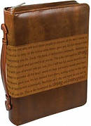Bible Cover Large Imitation Leather Brown - Courageous