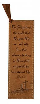 Jn 3:16 - Faux Leather Bookmark