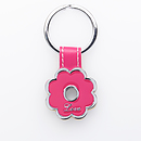 Pink Flower Metal Keyring - Love