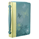 Bible Cover Butterflies Lime / Teal Imitatiom Leather- Large