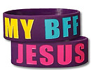 Wide Silicone Wristband: BFF