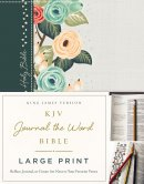 KJV, Journal the Word Bible, Large Print, Hardcover, Green Floral Cloth, Red Letter Edition